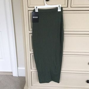 Misguided khaki/olive bodycon midi-skirt